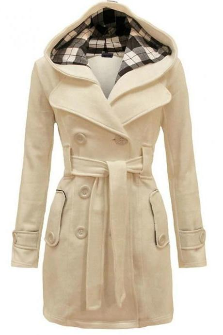 High Quality Women's Winter Trench Coat Long Solid Colored Daily Wear Chic & Modern Plus Size - Beige