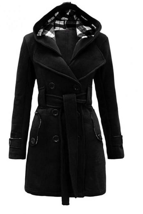 High Quality Women's Winter Trench Coat Long Solid Colored Daily Wear Chic & Modern Plus Size - Black
