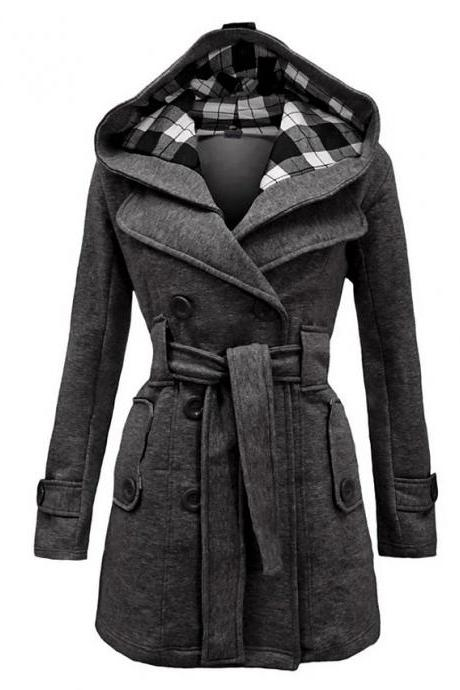 High Quality Women's Winter Trench Coat Long Solid Colored Daily Wear Chic & Modern Plus Size - Gray