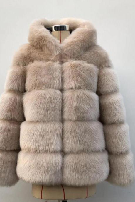 High Quality Women's Faux Fur Coat Regular Solid Colored Daily Sapphire - Light Tan