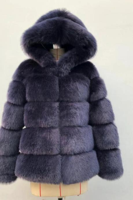 High Quality Women's Faux Fur Coat Regular Solid Colored Daily Sapphire - Navy Blue