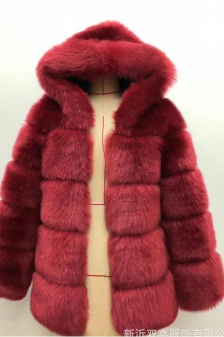 High Quality Women's Faux Fur Coat Regular Solid Colored Daily Sapphire - Wine Red