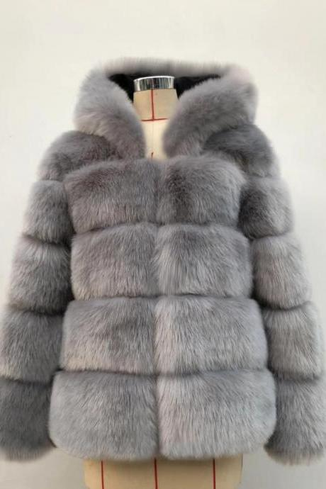 High Quality Women's Faux Fur Coat Regular Solid Colored Daily Sapphire - Gray