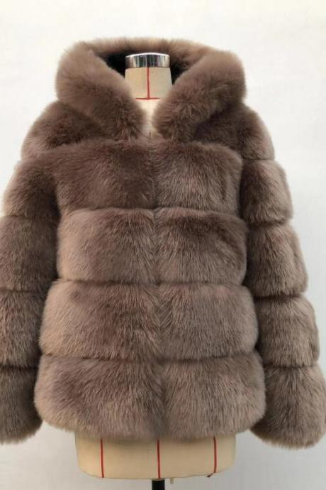 High Quality Women's Faux Fur Coat Regular Solid Colored Daily Sapphire - khaki