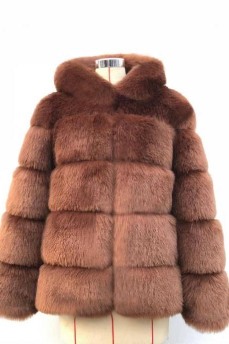 High Quality Women's Faux Fur Coat Regular Solid Colored Daily Sapphire - Dark Brown