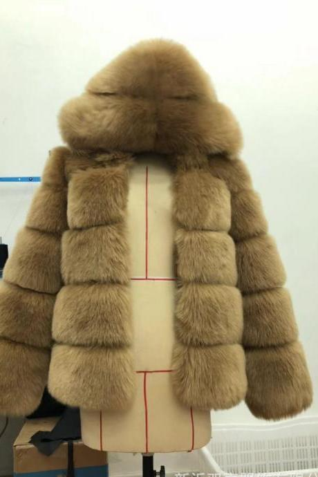 High Quality Women's Faux Fur Coat Regular Solid Colored Daily Sapphire - Light Khaki