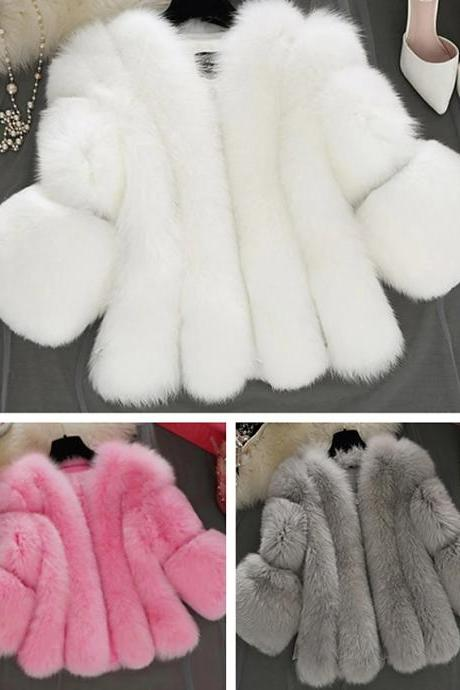 Fashion And Cute Women's V Neck Faux Fur Coat
