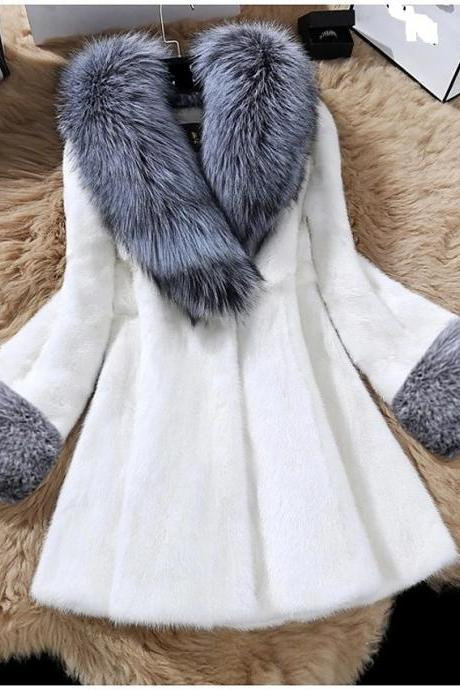 Women's Fall & Winter Open Front V Neck Faux Fur Coat Long Solid Colored Daily Basic Fur Trim Faux Fur - White
