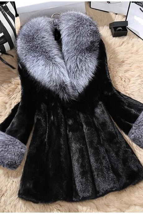 Women's Fall & Winter Open Front V Neck Faux Fur Coat Long Solid Colored Daily Basic Fur Trim Faux Fur - Black