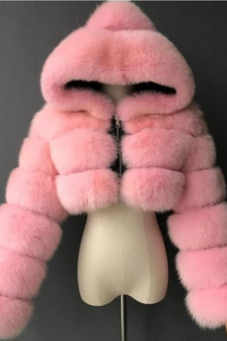 Women's Faux Fur Coat Short Solid Colored Daily Basic - Pink