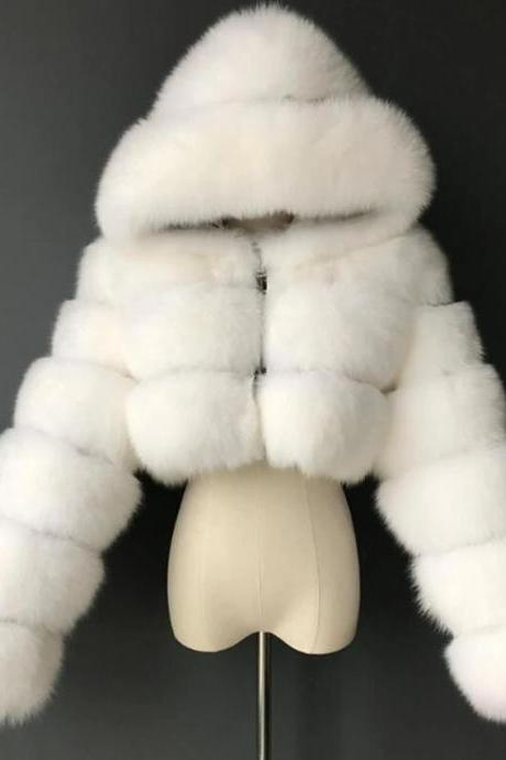 Women's Faux Fur Coat Short Solid Colored Daily Basic - White