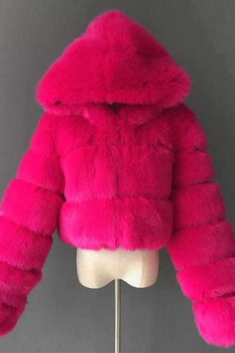 Women's Faux Fur Coat Short Solid Colored Daily Basic - Rose