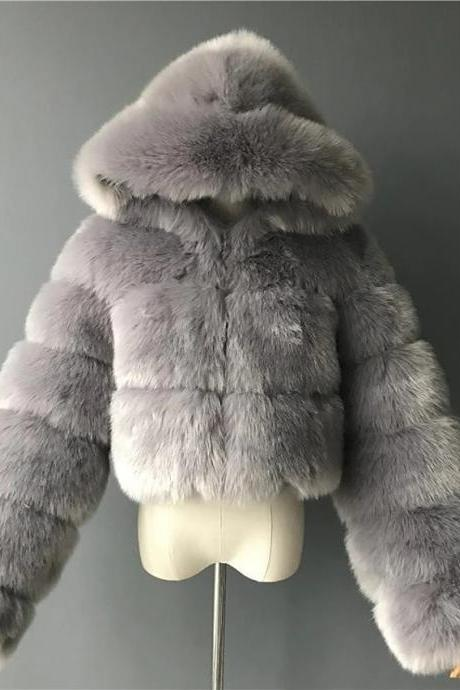Women's Faux Fur Coat Short Solid Colored Daily Basic - Light Gray