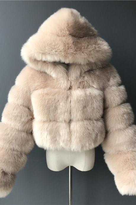 Women's Faux Fur Coat Short Solid Colored Daily Basic - Khaki