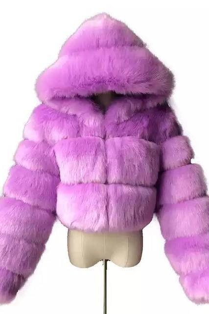 Women's Faux Fur Coat Short Solid Colored Daily Basic - Purple