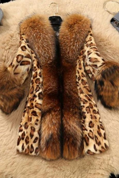 Good Qualtiy Women's Faux Fur Coat Long Leopard Daily Active Brown