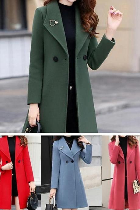 Women's Buttoned Front Coat Long Solid Colored Daily