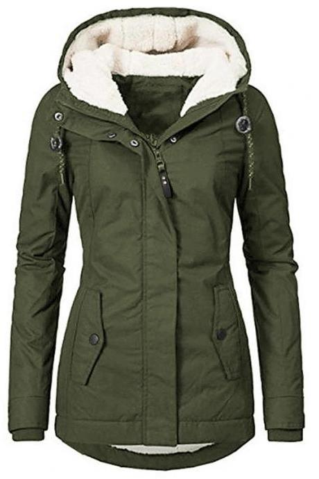 High Quality Women's Fall Winter Parka Parka Solid Colored Long Faux Shearling Long Sleeve Coat - Army Green