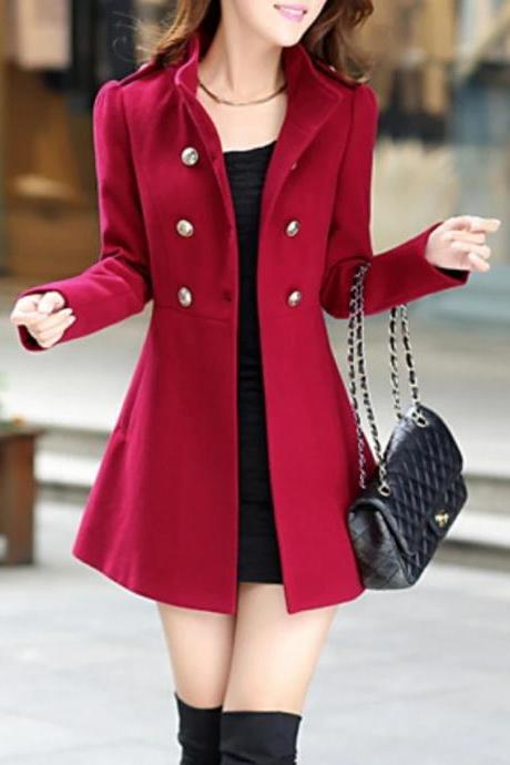 Women's Stand Collar Coat Long Solid Colored Daily Basic