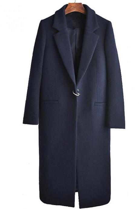 High Quality Women's Fall & Winter Coat Long Solid Colored Daily Active Wool Navy Blue