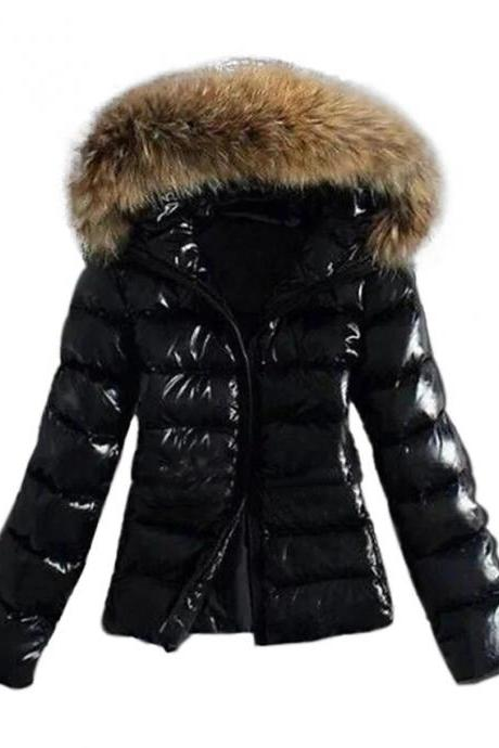 High Quality Women's Fall Winter Down Parka Sports & Outdoor Basic Fur Trim Solid Colored Nylon Long Sleeve Hooded