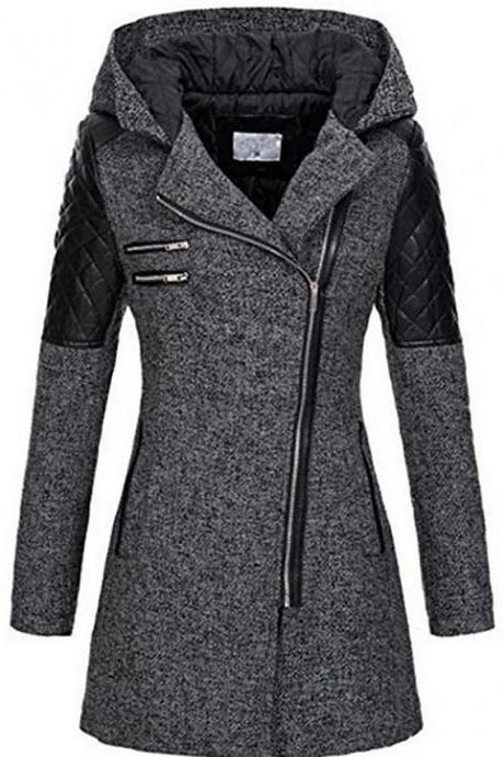 Women's Fall & Winter Trench Coat Long Solid Colored Daily - Dark Grey