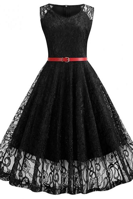 High Quality Women's Sleeveless Solid Color Lace Fall Sexy Sheath Knee Length Dress - Black