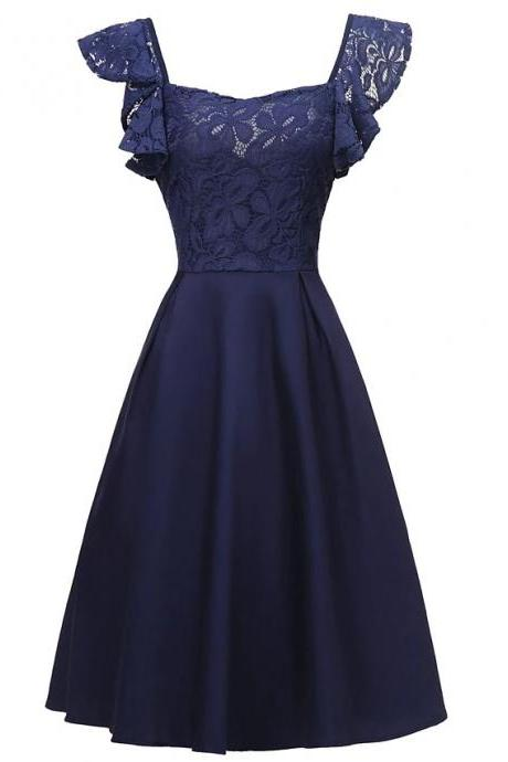Women's Sleeveless Solid Color Lace Patchwork Fall V Neck Elegant Sexy Party Dress - navy Blue
