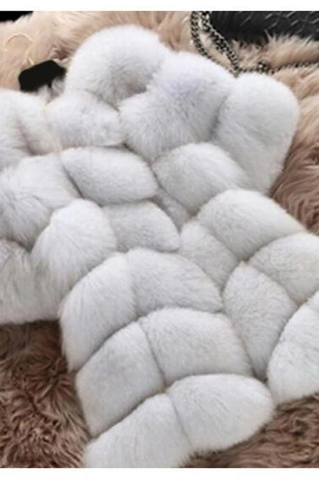 High Qualtiy Women's Winter Fur Coat Long Solid Color Party Evening Chic & Modern White