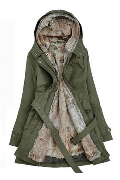 High Quality Women's Winter Parka Parka Casual / Daily Solid Colored Long Cotton Long Sleeve Hooded - Army Green