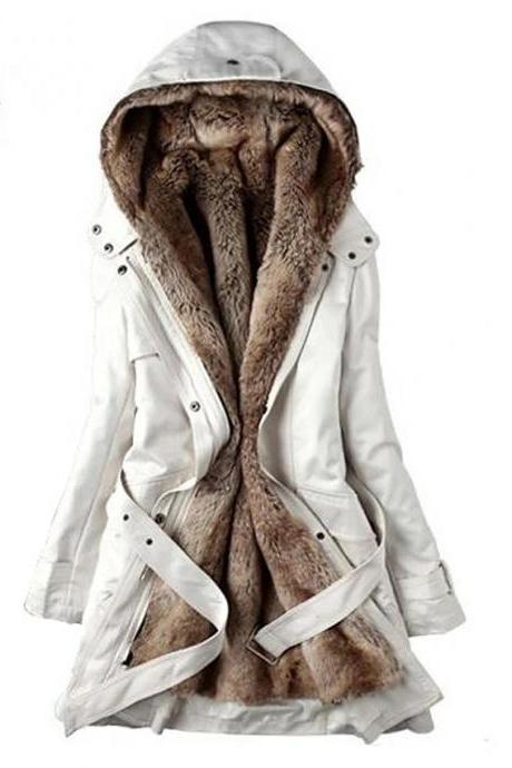 High Quality Women's Winter Parka Parka Casual / Daily Solid Colored Long Cotton Long Sleeve Hooded - White