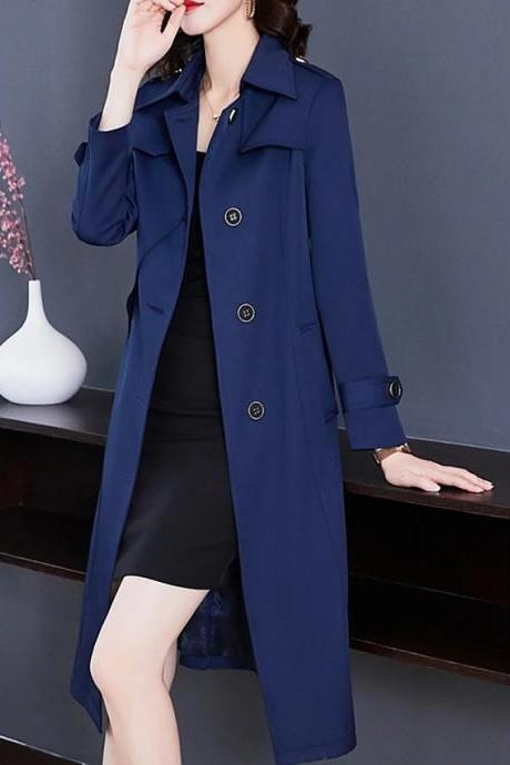 High Quality Women's Trench Coat Long Solid Colored Daily Active Blue Red