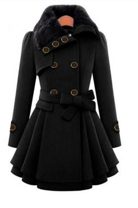 High Quality Women's Fall &Winter Coat Long Solid Colored Daily Black