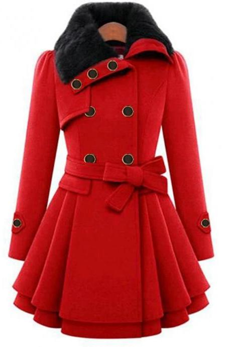 High Quality Women's Fall &Winter Coat Long Solid Colored Daily- Red