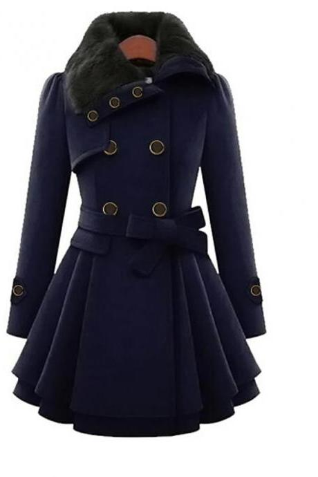 High Quality Women's Fall &Winter Coat Long Solid Colored Daily - Navy Blue