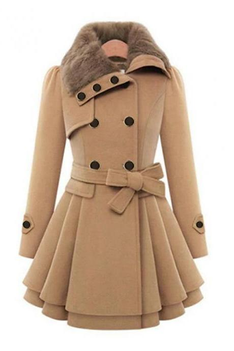 High Quality Women's Fall &Winter Coat Long Solid Colored Daily -Camel