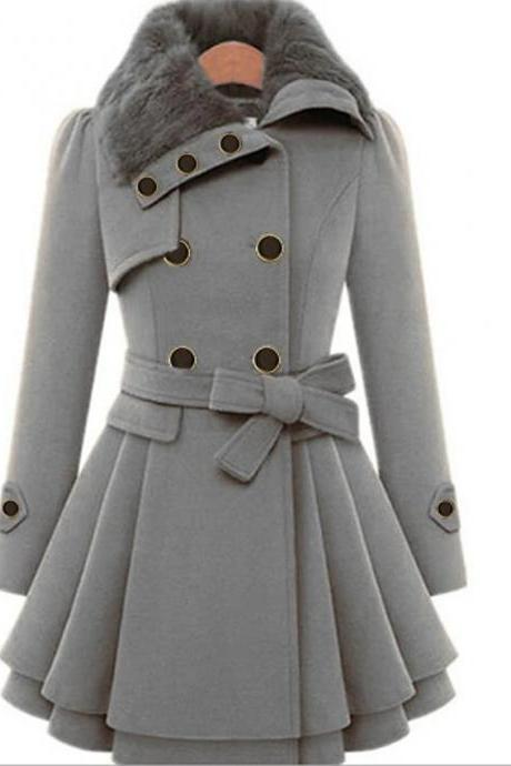 High Quality Women's Fall &Winter Coat Long Solid Colored Daily - Gray