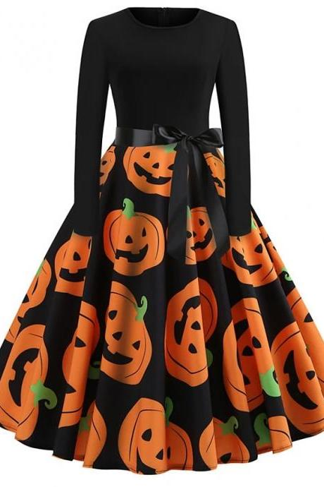Halloween Women's A-Line Dress Knee Length Dress - Orange
