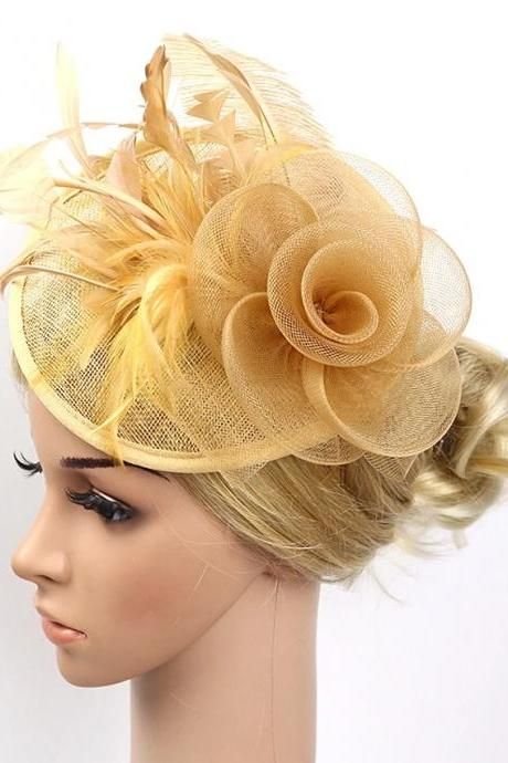 Feather / Net Fascinators / Flowers / Headwear with Floral 1pc Wedding / Special Occasion / Party / Evening Headpiece - Gold