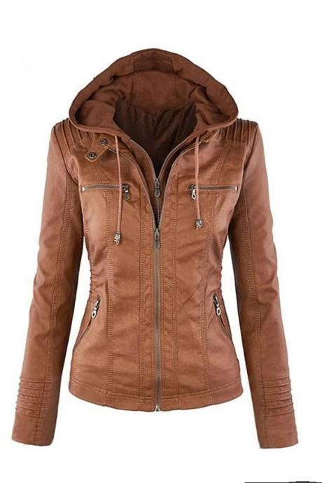 High Quality omen's Jacket Regular Solid Colored Daily - Brown