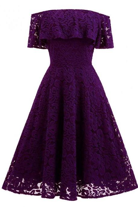 Sexy Off Shoulders Lace Dress - Purple