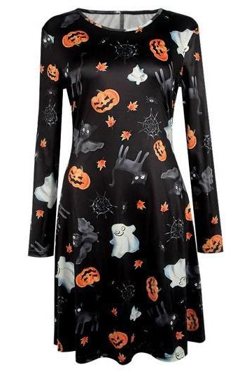 Halloween Pumpkin, Ghost and Black Cat Printed Dress Costume