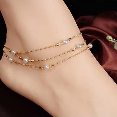 Free Shipping Faux Pearl Embellished Gold Metal Layered Anklet