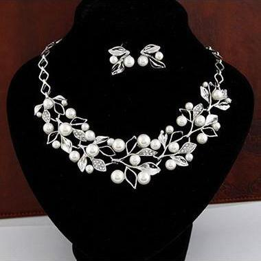 Silver Rhinestone and Pearl Decorated Leaf Shape Statement Necklace and Earring Set