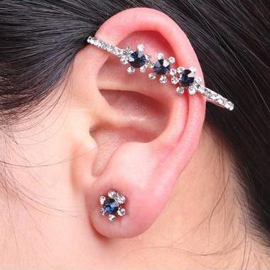 Free Shipping Artificial Crystal Decorated Silver Metal Earrings