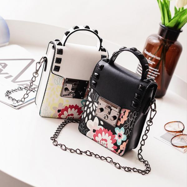 Floral Print Cross Body Shoulder Mini Bag With Rivets Embellishment