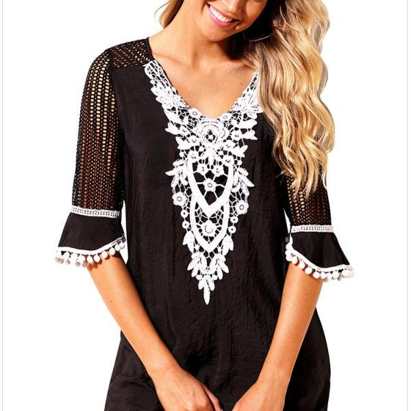 Fashion V Neck Beach Cover Up - Black