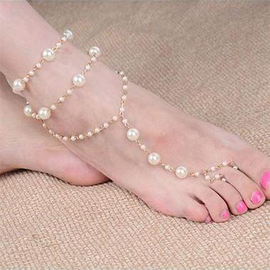 Free Shipping Faux Pearl Decorated Layered Anklet for Woman