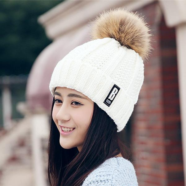Free Shipping Fashion Winter Cute Hat Knitted Cap - White