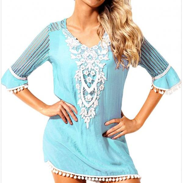 Fashion V Neck Beach Cover Up - Light Blue